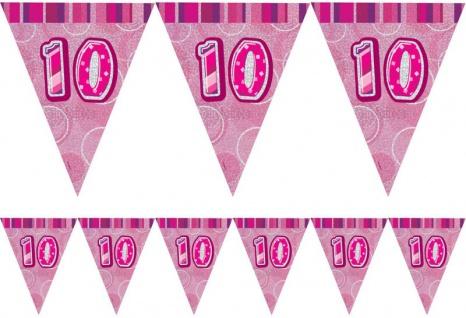 10. Geburtstag Wimpel Girlande Pink
