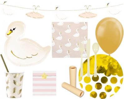 XL 79 Teile kleiner Schwan Geburtstags Party Deko Set für 6 Kinder