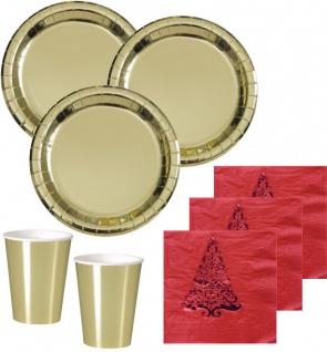 32 Teile Deluxe Party Deko Set Gold Glanz & Rot mit Tanne für 8 Personen - Weihnachten