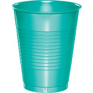 20 große Plastik Becher Lagunen Blau 473 ml