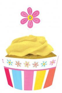 24 Teile Muffin oder Cupcake Set Blumen Pink Flower
