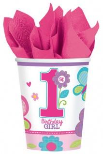 8 Becher Erster Geburtstag Sweet Girl