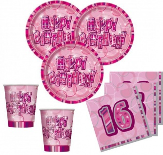 48 Teile Sweet Sixteen 16. Geburtstag Party Set Pink 16 Personen