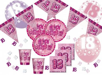 56 Teile zum 18. Geburtstag Party Set in Pink für 16 Personen