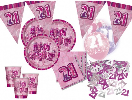 56 Teile zum 21. Geburtstag Party Set in Pink für 16 Personen