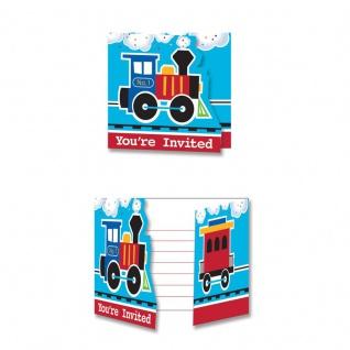 8 Einladungskarten Eisenbahn Party
