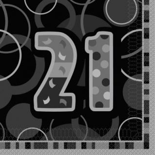 21. Geburtstag Party Servietten Schwarz