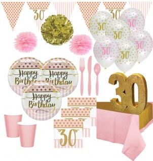 XXL 73 Teile Deluxe Pink Chic Party Deko Set zum 30. Geburtstag in Rosa und Gold Glanz für 8 Personen