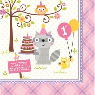 16 Servietten zum 1. Geburtstag kleiner Waschbär Rosa