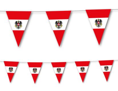Wimpel Girlande aus Papier Österreich Flagge 3, 5m