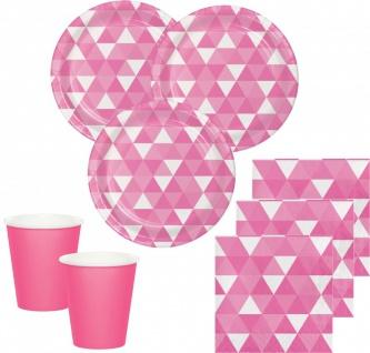 32 Teile Party Deko Set Bonbon Rosa Fractals für 8 Personen