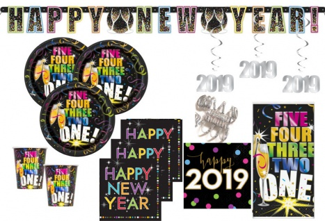 XXL 2019 Silvester Happy New Year Countdown Deko Set 8 Personen