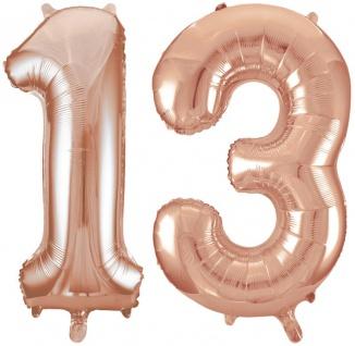 Folien Ballon Zahl 13 in Rosegold - XXL Riesenzahl 86 cm zum 13. Geburtstag