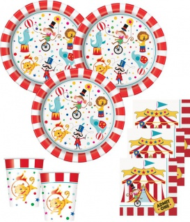 32 Teile Zirkus Manege Party Deko Set für 8 Kinder