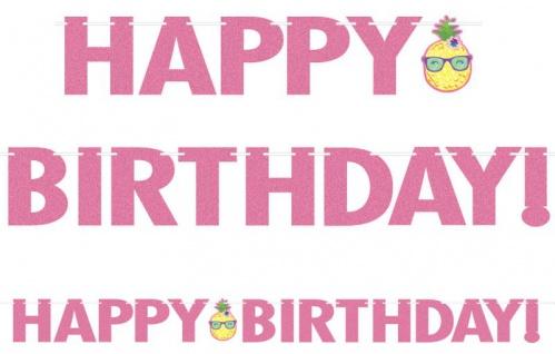 XXL Pinke Glitzer Geburtstags Girlande Ananas und Freunde