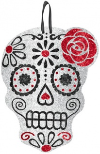 Day of the Dead Totenkopf Glitzer Pappschild aus Holz