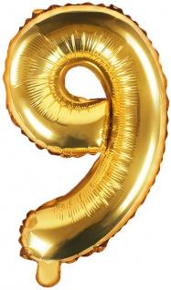 Folienballon Zahl 9 Gold Metallic 35 cm
