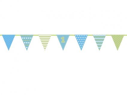 Erster Geburtstag Papier Wimpel Girlande blau grün