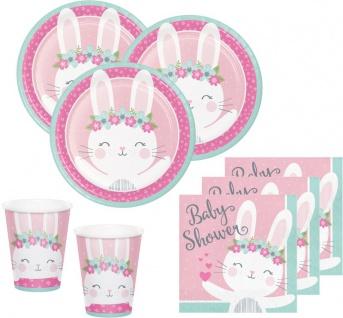 32 Teile rosa Häschen Party Deko Set zur Babyparty für 8 Personen
