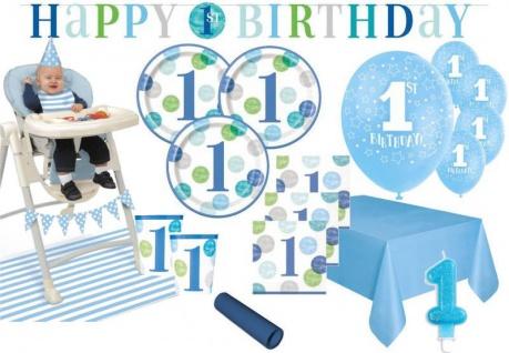 XXL Party Deko Set zum 1. Geburtstag Blaue Punkte für 16 Personen Erster Geburtstag