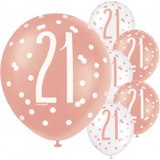 6 Luftballons Urban Apricot zum 21. Geburtstag