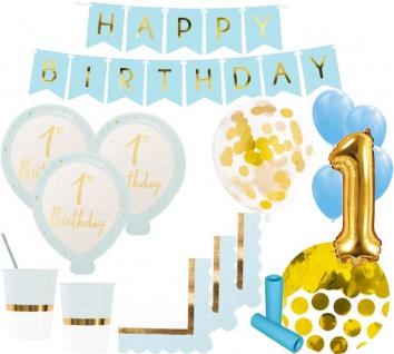 XL 62 Teile 1. Geburtstag Ballonparty in Blau und Gold Glanz für 8 Personen