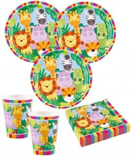 36 Teile bunte Kinder Safari Party Geburtstags Deko Set für 8 Kinder