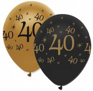 30 Teile Set zum 40. Geburtstag oder Jubiläum - Party Deko in Schwarz & Gold - Vorschau 4