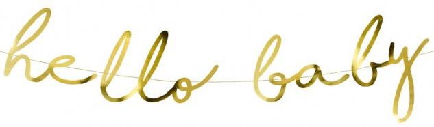 Hello Baby Buchstaben Girlande in Gold Metallic