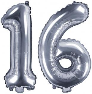 Folienballons Zahl 16 Silber Metallic 35 cm