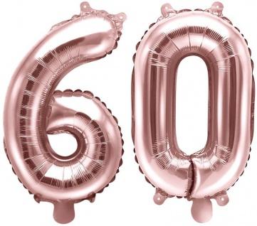 Folienballons Zahl 60 Rosegold Metallic 35 cm