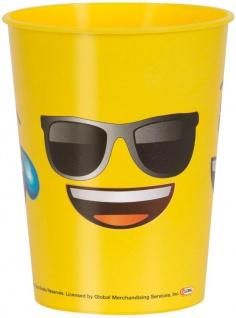 1 Stück stabiler Plastik Becher Emoji Faces