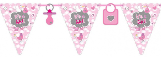 Wimpel Girlande Baby Party Storch Rosa