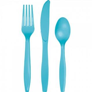 24 Teile Premium Plastik Besteck Bermuda Blau