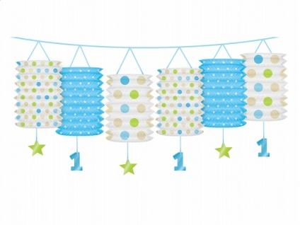 Erster Geburtstag Papier Laternen Girlande hellblau