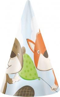 8 Party Hütchen Fuchs und Biber