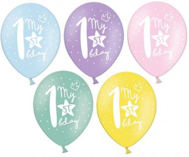 6 bunte Erster Geburtstag Luftballons zum 1. Geburtstag