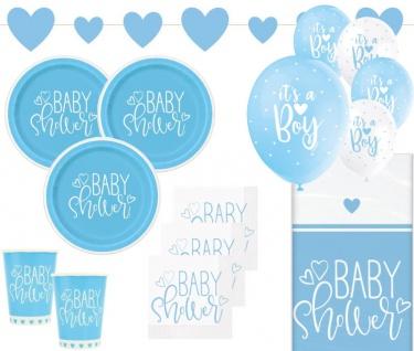 XL 39 Teile Baby Shower Herzchen in Hellblau Party Deko Set für 8 Personen