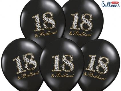 6 schwarze Luftballons zum 18. Geburtstag - 18 & Brilliant