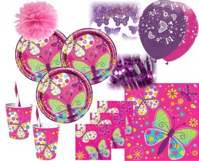 XXL 52 Teile Party Deko Set Schmetterling in Pink für 8 Personen