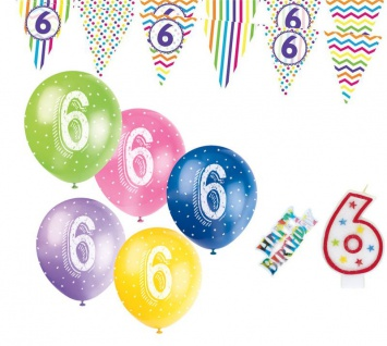 6. Geburtstag Girlande + Luftballons + Kerze Deko Set mit Kuchen Stecker