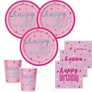32 Teile Happy Birthday Pink Dots Glitzer Geburtstag Party Set 8 Personen