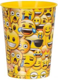 1 Stück stabiler Plastik Becher Emoji Smiles