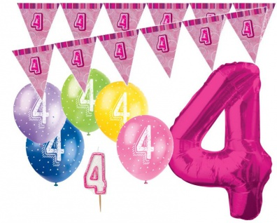 4. Geburtstag Pink XXL Folienballon + Girlande + Luftballons + Kerze Deko Set - Vier