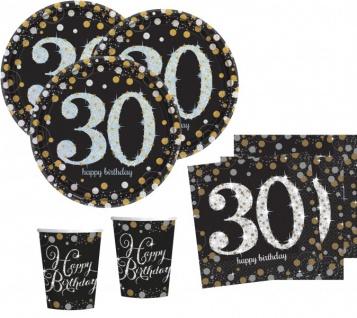 32 Teile zum 30. Geburtstag Gold Glitzer für 8 Personen