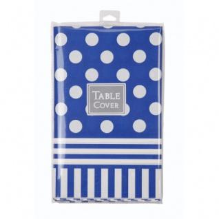 Papier Tischdecke Punkte und Streifen Blau