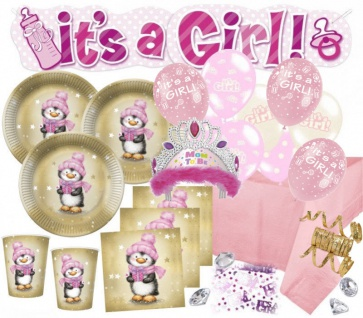 XXL 74 Teile Baby Shower Deko Set Rosa Pinguin 16 Personen - Babyparty Mädchen
