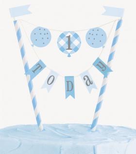 Torten Banner 1. Geburtstag Vichy Karo in Blau