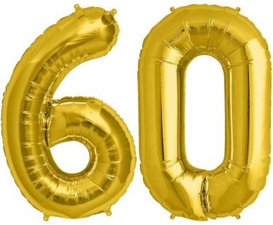 Folien Ballon Zahl 60 in Gold - XXL Riesenzahl 86 cm zum 60. Geburtstag in Gold - Jumbo