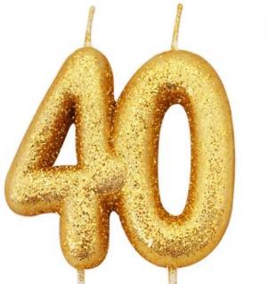 Kuchen Kerze 40. Geburtstag Gold Glitzer